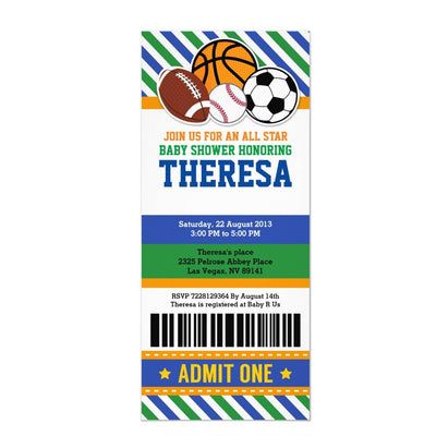 All Star Sport Ticket Pass baby shower ticket invitation