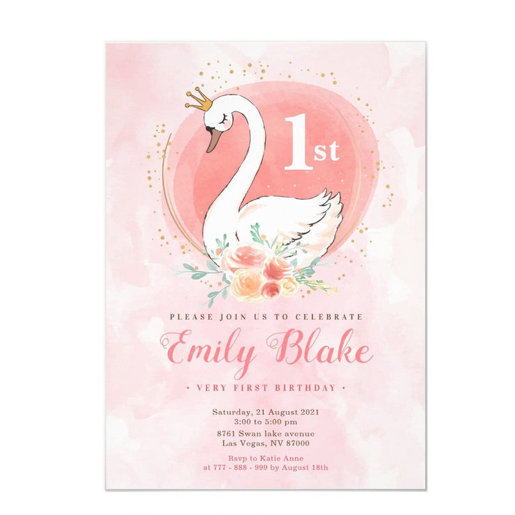Swan Princess birthday invitations