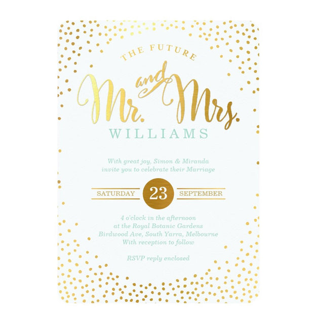 MODERN STYLISH WEDDING mini silver confetti mint Invitation
