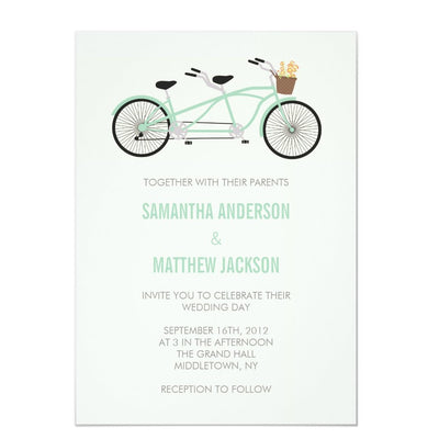 Tandem Bike Wedding Invitation - Mint Green