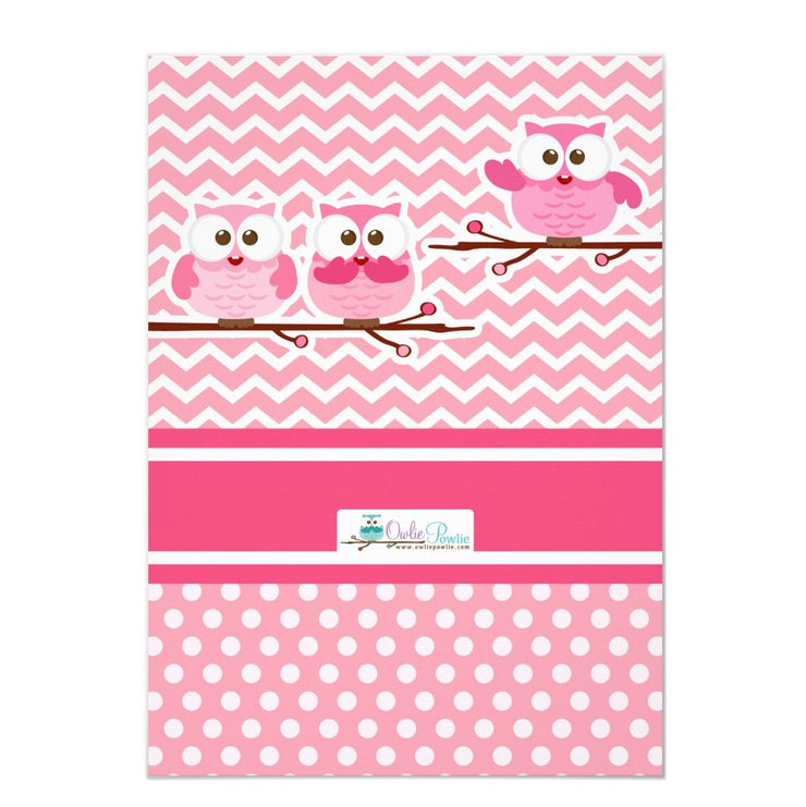 Pink Owl birthday party invitations