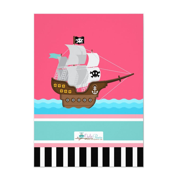 Ahoy Matey! Boat Pink Pirate birthday invitations