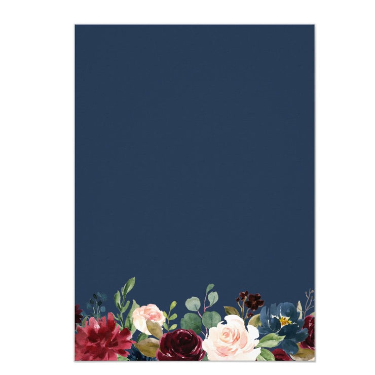 Burgundy Blush Navy Blue Floral Botanical wedding invitations