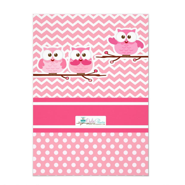 Pink Owl baby shower invitation