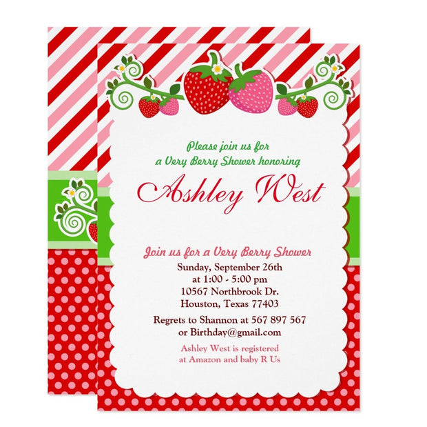 Sweet Berry Strawberry baby shower invitation