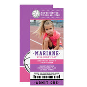 Purple Pink Volleyball ticket birthday invitations