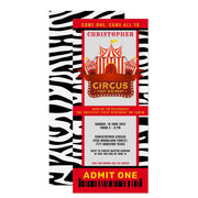 Animal print circus carnaval ticket birthday invitations