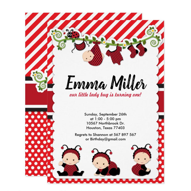 Red Lady Bug First Birthday Lady birthday invitations
