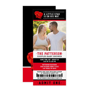 Red Boxing Ticket Couples baby shower ticket invitation
