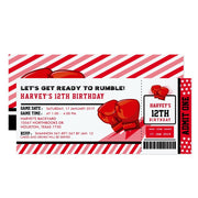 Editable Colour Boxing ticket birthday invitations