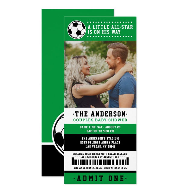 Green Black Soccer Ticket baby shower ticket invitation