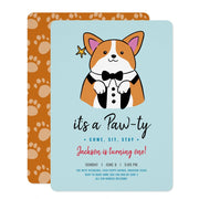 Puppy Pawty birthday invitations
