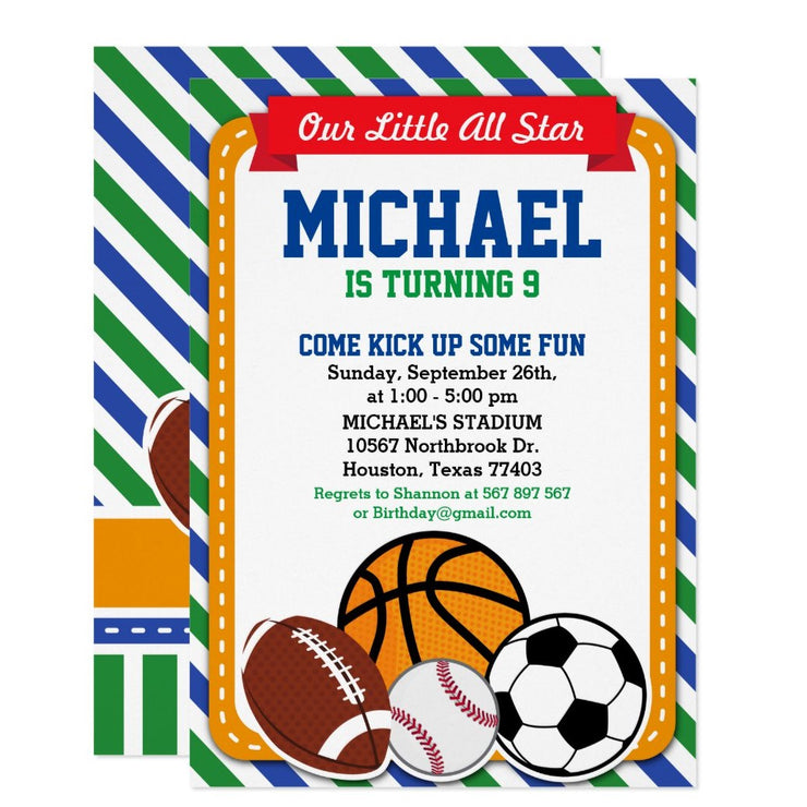 All Star Sport birthday party invitations