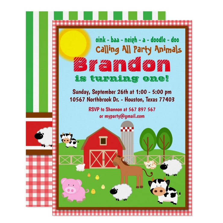 Farm Animal Barnyard Kids birthday party invitations