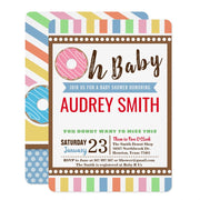 Oh Baby Pink Donut Girl baby shower invitation