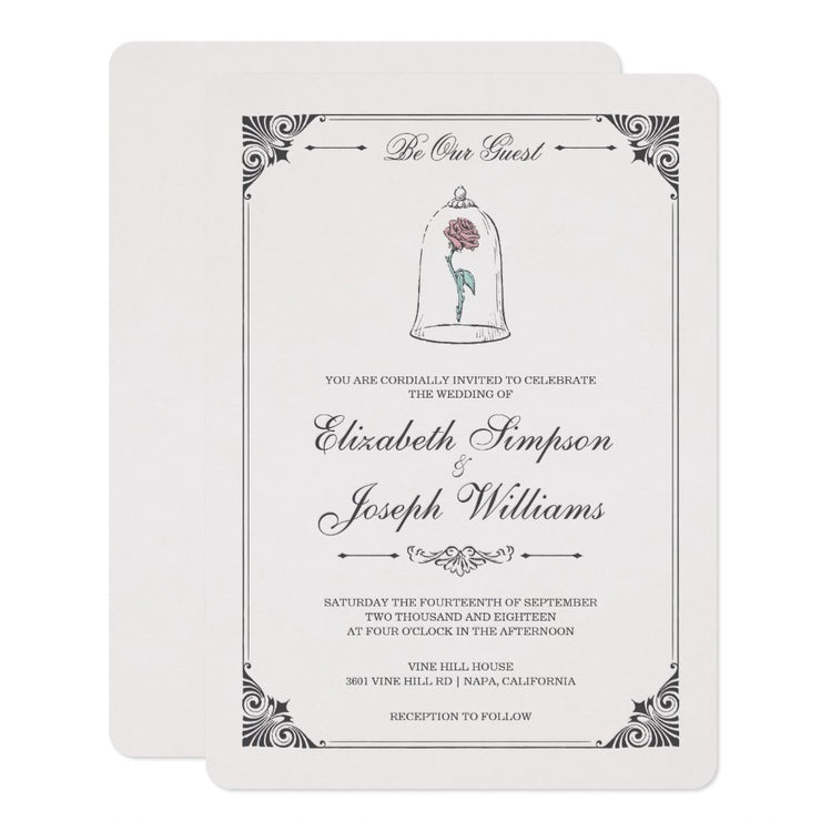 Beauty and the Beast | Enchanted Rose wedding invitations