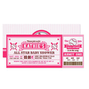 Pink Baseball Ticket Pass baby shower ticket invitation