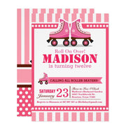 Roll on over! Pink Roller Skate Sport birthday invitations