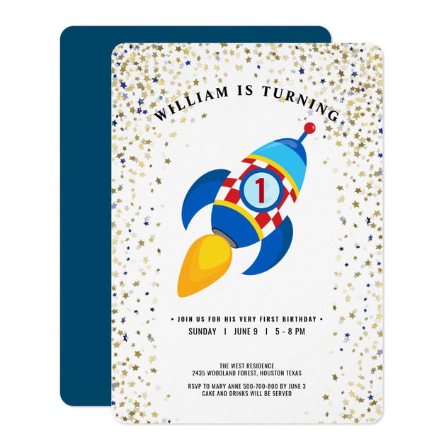 Outer space birthday invitations