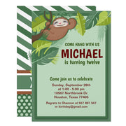 Jungle Sloth birthday party invitations