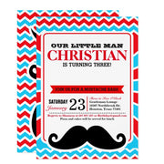 Little Man Mustache Bash birthday party invitations