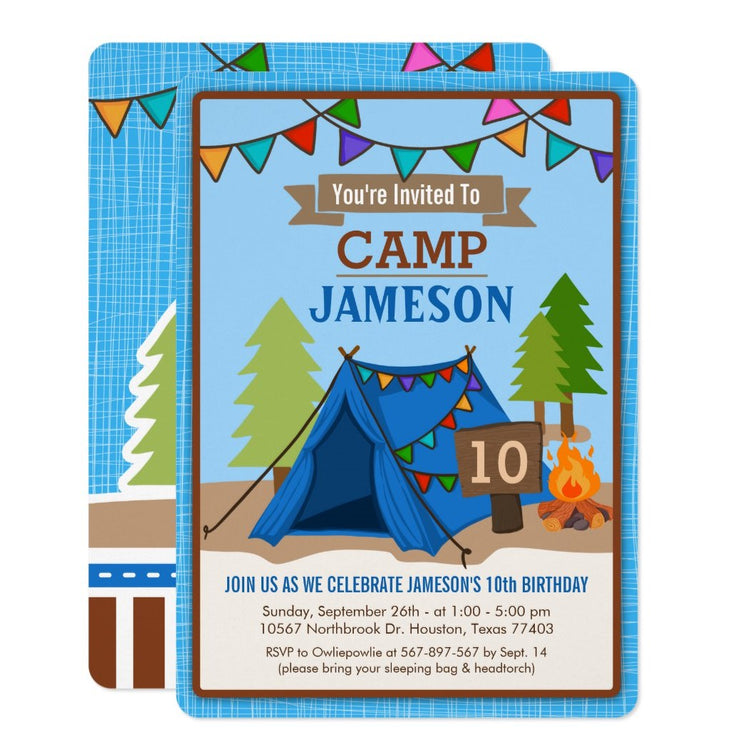 Camp Out Glamping birthday party invitations