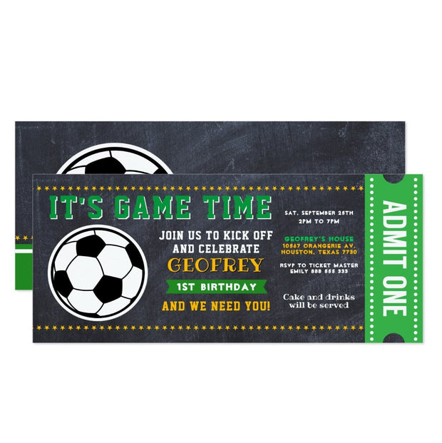 Sport Soccer Chalkboard ticket birthday invitations