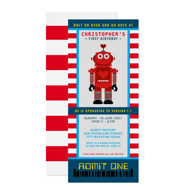 Red Robot party ticket birthday invitations