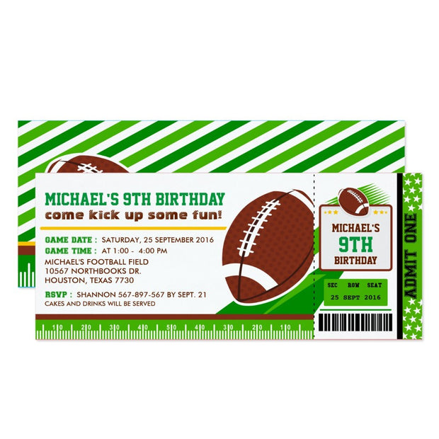 Rugby Football ticket birthday invitations