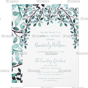 Watercolor Leaves Botanical Bridal Shower Invitation