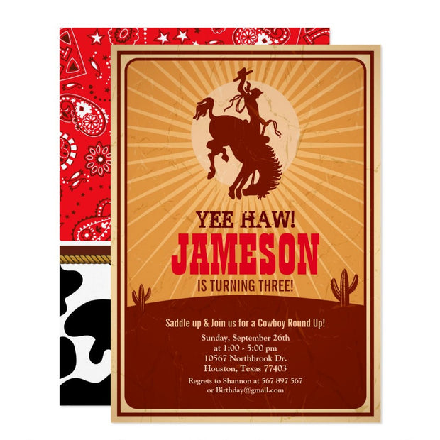 Cowboy Western Old West birthday invitations