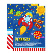 Blast Off Space Rocket Ship baby shower invitation