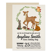 Woodland Enchanted Forest birthday party invitations
