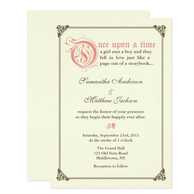 Storybook Fairytale Wedding Invitation - Pink