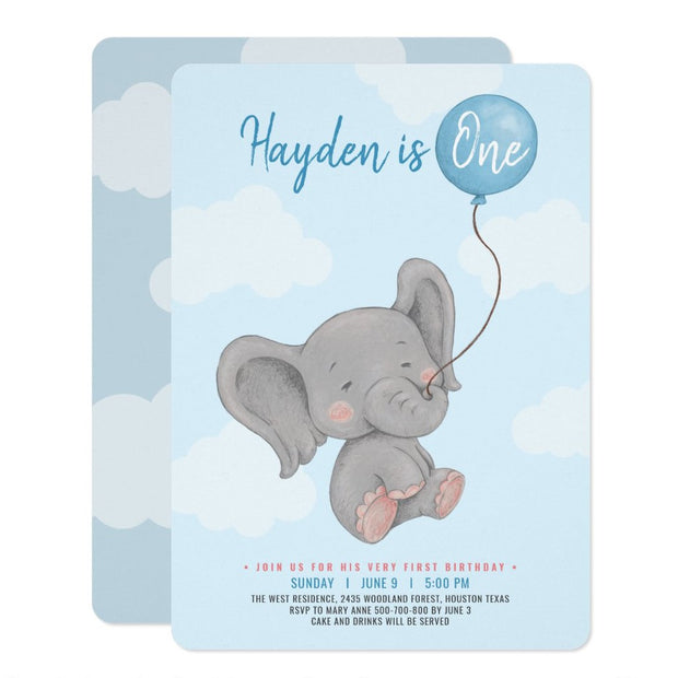 Blue Elephant first birthday invitations