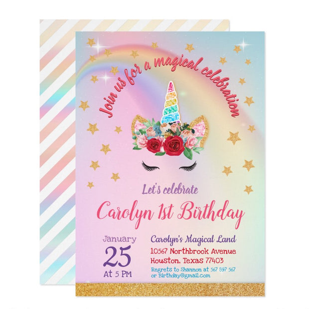 Gold Glitter | Magical Unicorn Horn First birthday invitations