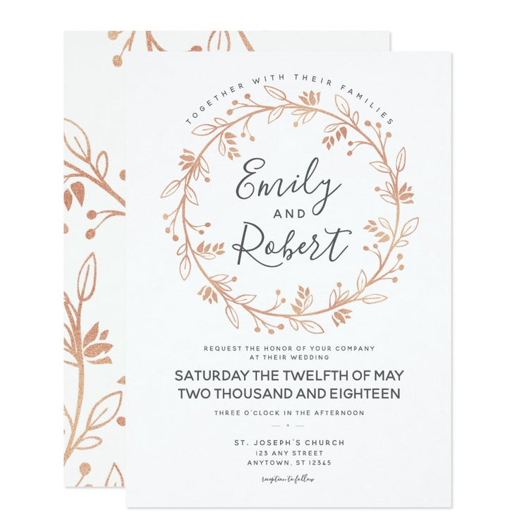 Rose Gold Floral Wreath Modern Wedding Invitation