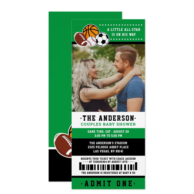 Green All Star Sport Ticket baby shower ticket invitation
