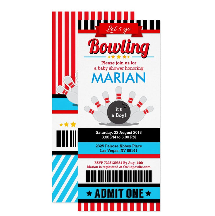 Bowling Ticket Pass baby shower ticket invitation