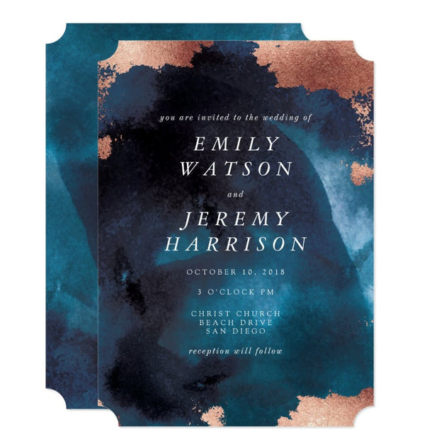 Watercolor Texture Moody Navy Wedding Invitation