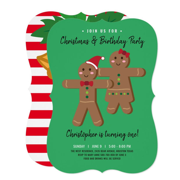 Gingerbread man birthday invitations