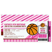 Pink Basketball ticket birthday invitations