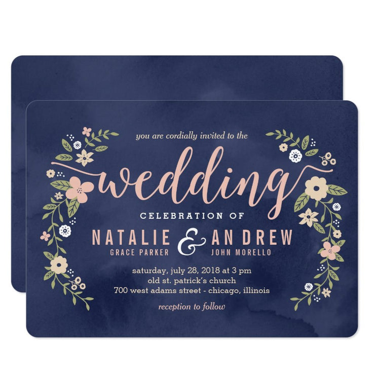 Floral Beauty Editable Color Wedding Invitation