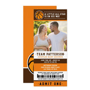 Orange Basketball Ticket Couples baby shower ticket invitation