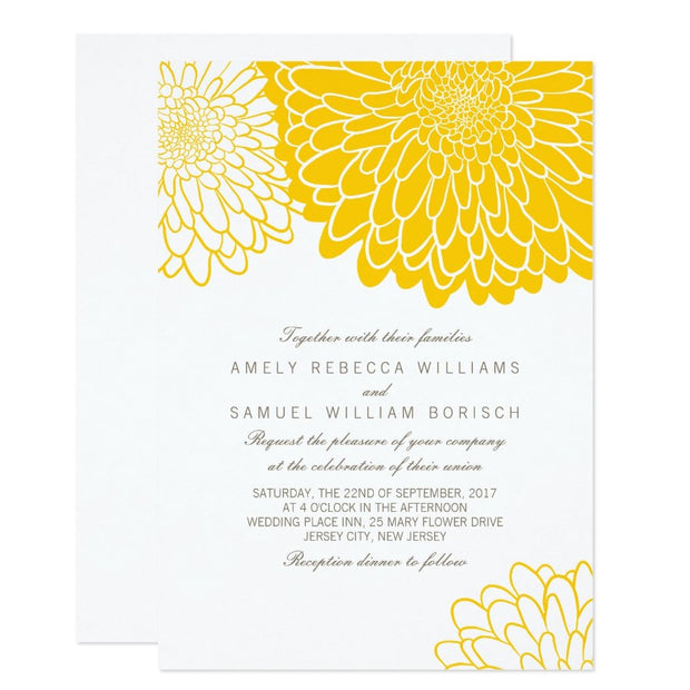 White Yellow Chrysanthemum Wedding Invitation