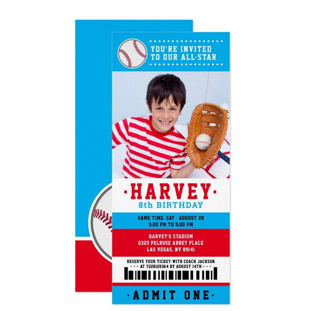 Red Blue Baseball ticket birthday invitations