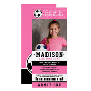 Pink Black Soccer ticket birthday invitations