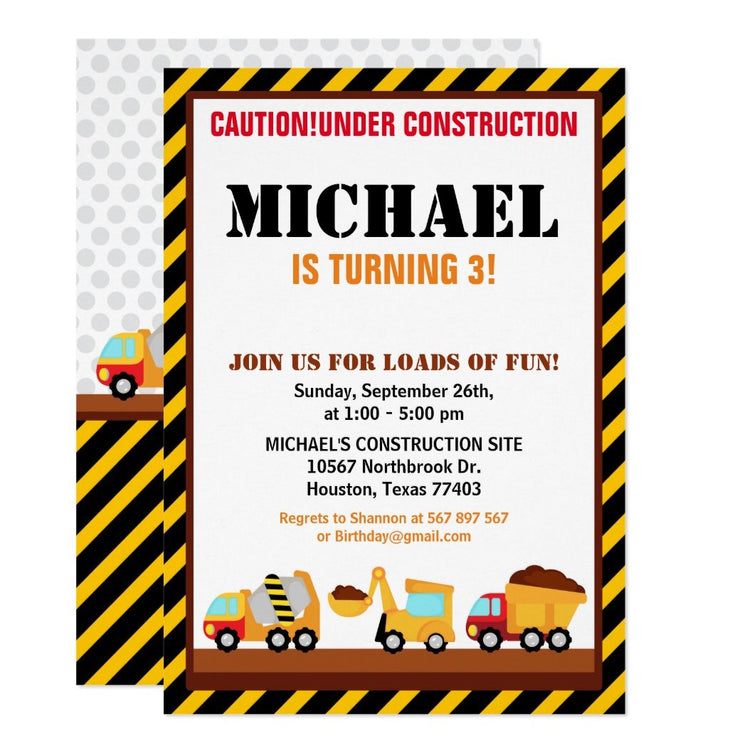 UNDER CONSTRUCTION  birthday party invitations