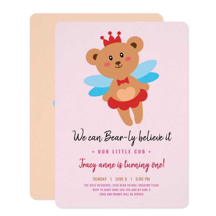 Teddy bear girl birthday invitations
