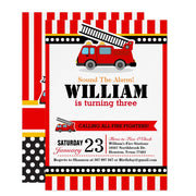 Fire Engine birthday party invitations